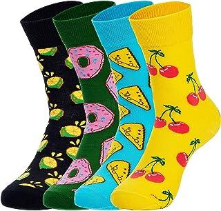 Richaa 4 pares de calcetines divertidos, calcetines coloridos de la tripulación de la fantasía de la novedad modelada calc...