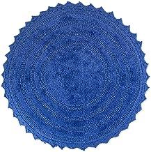 "DII 100% Cotton Crochet Round Luxury Spa Soft Bath Rug, for Bathroom Floor, Tub, Shower, Vanity, and Dorm Room, 28"" - Blue..."
