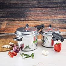 Royalford RF8428 5 & 3 Litre Aluminum Pressure Cooker - Comfortable Handle Evenly Heating Cooker | Portable & Compact Desi...