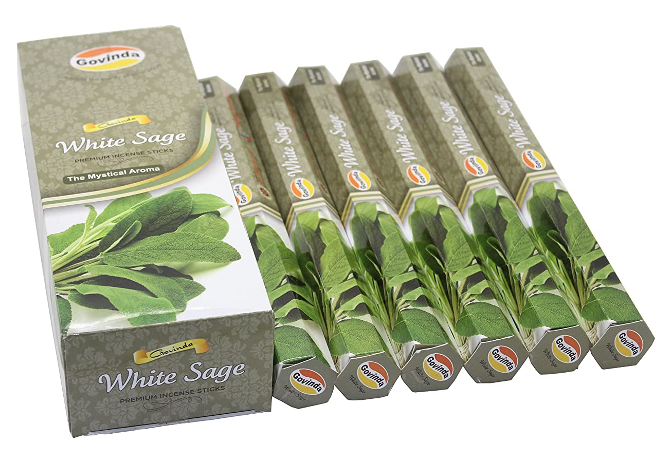 主導権ディーラー最後にGovinda Incense - White Sage - 120 Incense Sticks, Premium Incense, Masala Coated