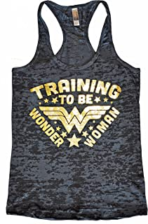 Metallic Collection Training To Be Wonder Woman Gold Edition Womens Burnout Tank