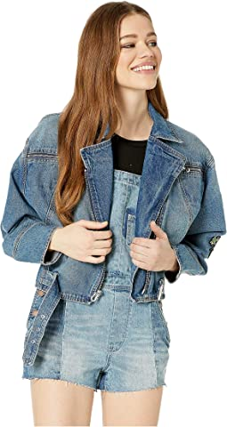 Moto Denim Jacket with Patches