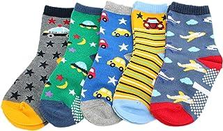 KID'S BASIC, Pack de 5 calcetines antideslizantes de algodón para niños (coches aviones estrellas)