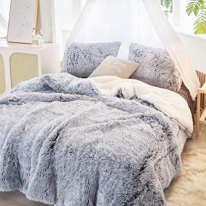 Ranking TOP15 FlySheep Luxury Regular discount Faux Fur Long Shaggy Comforter Hair Velvet Gray