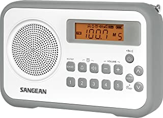 Sangean PR-D18GR AM/FM/Portable Digital Radio with Protective Bumper (White/Gray)