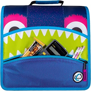 Case-it D-146-ME Mighty Zip Tab Monster Eye Zipper Binder, 3-Inch O-Ring with 5 Tab Expanding File, Purple, D-146-ME-PUR