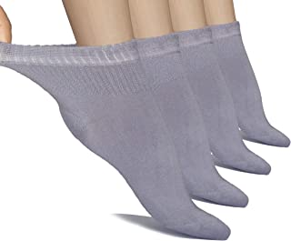Hugh Ugoli Lightweight Women's Diabetic Ankle Socks Soft Bamboo Thin Socks Seamless Toe and Non-Binding Top, 4 Pairs