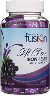 Bariatric Fusion Grape Flavored Bariatric Iron Soft Chew with Vitamin C for Bariatric Patients Including Gastric Bypass an...
