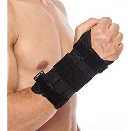 Carpal Tunnel Wrist Brace by BraceUP for Women and Men - Metal Wrist Splint for Hand and Wrist Support and Tendonitis Arthritis Pain Relief (S/M, Right Hand)