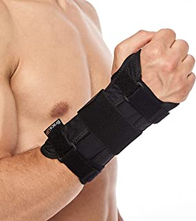 BraceUP® Deluxe Wrist Stabilizer Support Brace with Aluminum Splint for Carpal Tunnel Arthritis (L/XL, Right Hand)