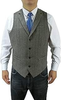 Men's 4 Button Buckle Wool Herringbone Tweed Custom Collar Business Suit Vest