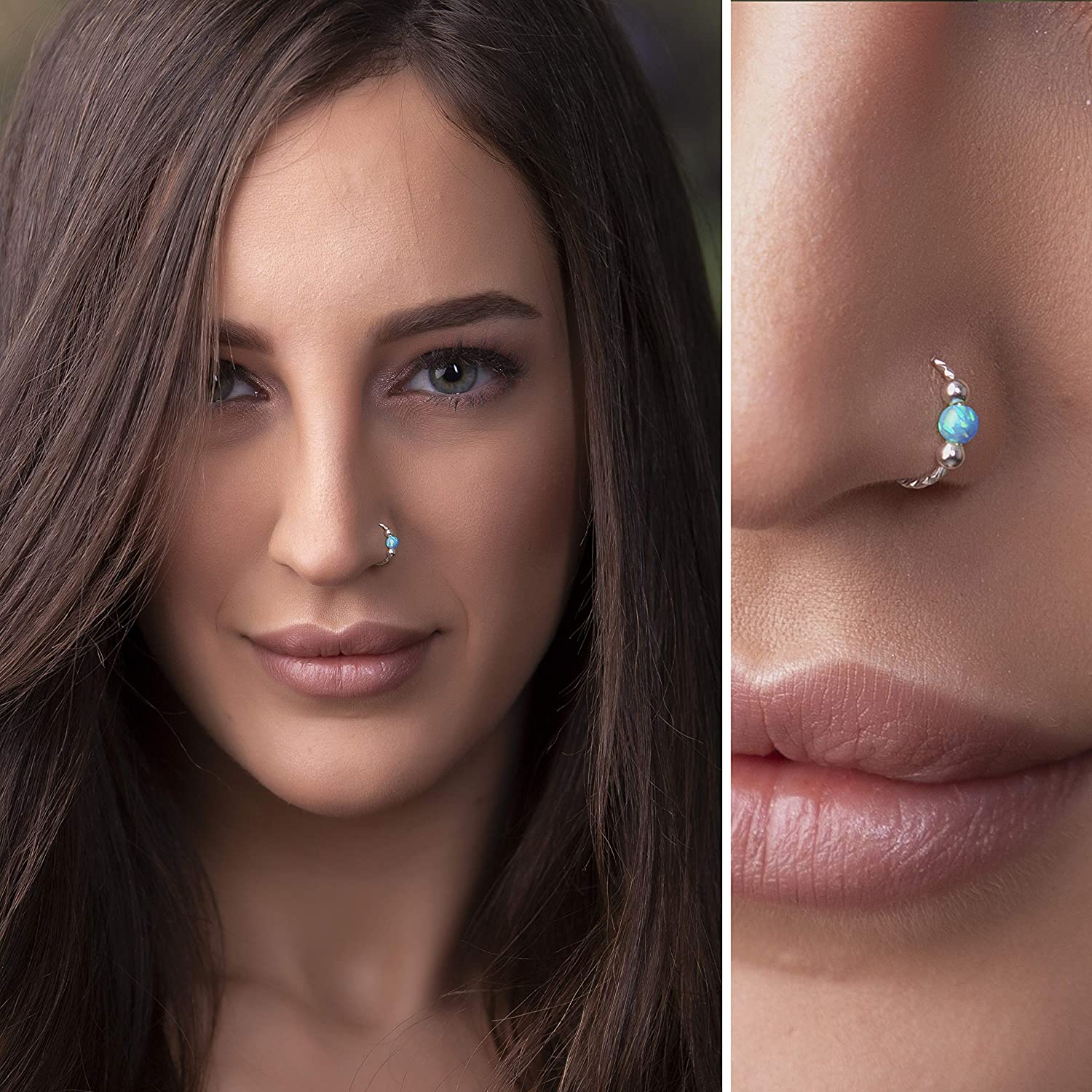 Silver Boston Mall Opal Nose piercing - opal 2 Sterling Piercing Direct sale of manufacturer RING