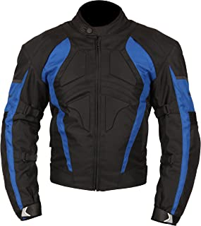Milano Sport Gamma Motorcycle Jacket with Blue Accent (Black, Medium)