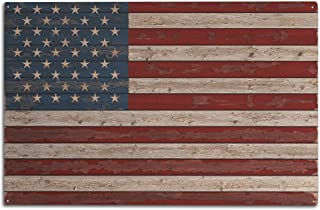 Lantern Press Distressed American Flag (10x15 Wood Wall Sign, Wall Decor Ready to Hang)