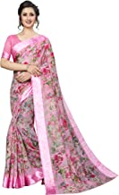 PERFECTBLUE Women's Blend Linen Saree with Unstitched Blouse Piece (DigitalPrintVariation)