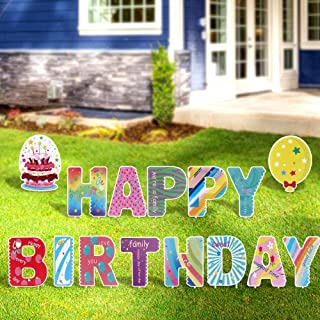 FiGoal Happy Birthday Yard Signs with Cute Letter Corrugated Yard Stake Signs Outdoor Decorations with Stakes Yard Signs f...