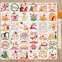 36 Pieces Christmas Plastic Painting Stencils Christmas Drawing Template Reusable Snowflake Christmas Tree Santa Elk Templ...