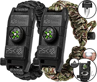 A2S Protection PSK Paracord Bracelet 8-in-1 Personal Survival Kit Urban & Outdoors..
