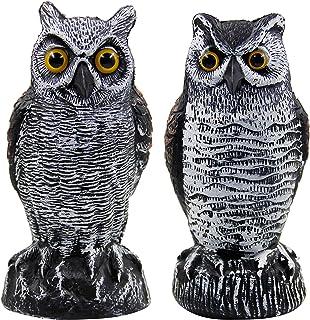 Hausse 2 Pack Fake Horned Owl Bird Scarecrow Decoy, Plastic Owl Bird Deterrents, Nature Enemy Pest Repellent for Outdoor G...