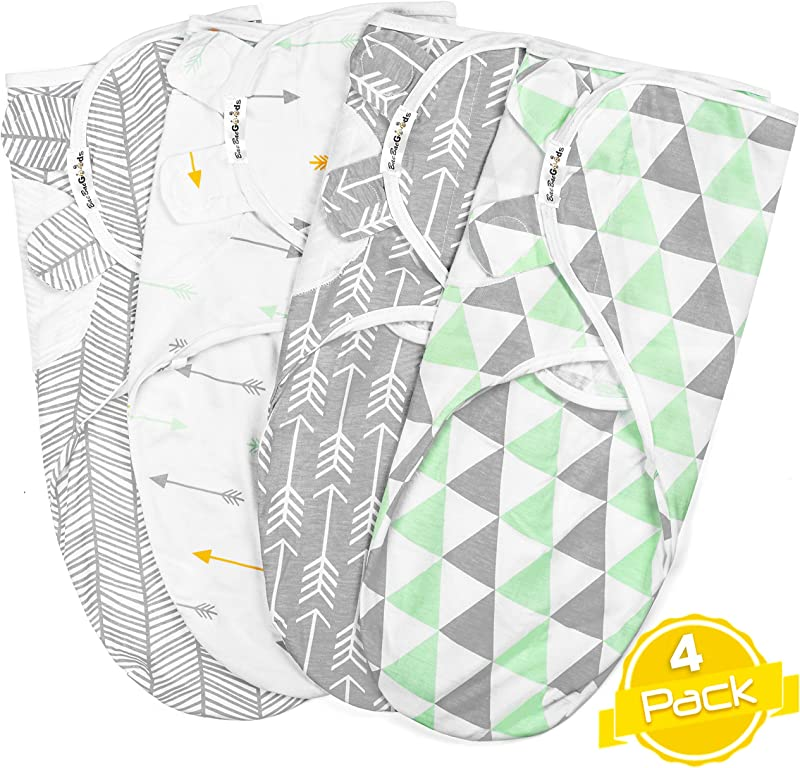 Swaddle Blanket Adjustable Infant Baby Wrap Set Of 4 Baby Swaddling Wrap Blankets Made In Soft Cotton By BaeBae Goods