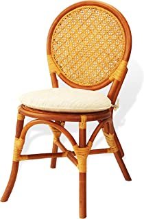 Denver Dining Armless Accent Side Chair with Cream Cushions Handmade Rattan Wicker Furniture Colonial (Light Brown)