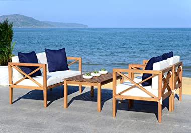 Safavieh PAT7031A Collection Nunzio Teak and White and Navy 4 Pc Accent Pillows Outdoor Set, Natural/Beige