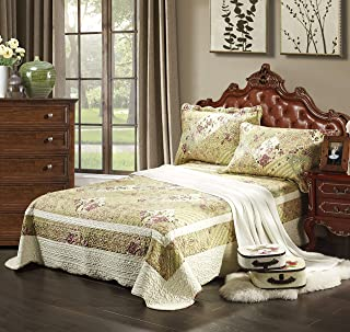 Tache 3 Piece Country Floral Forest Cottage Reversible Patchwork Quilted Bedspread Quilt Set, Queen Size