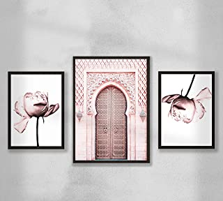 Decorazione da parete - Poster Premium Set poster da parete per soggiorno, formato A4 A3, senza cornice, peonia - Porta ma...