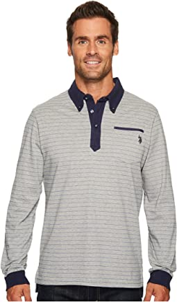 Classic Fit Striped Long Sleeve Pique Polo Shirt