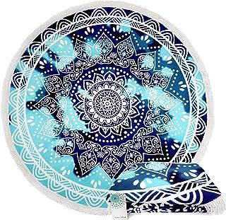 893db5d768d6e Leana Collection Serviette Plage Ronde Mandala Épaisse Tapisserie Coton avec  Frange Ultra-épais Mat Yoga
