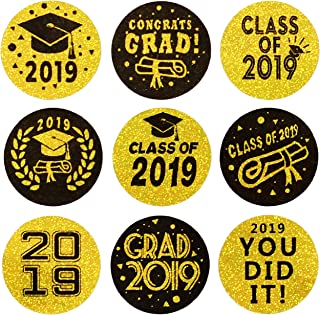 Class of 2019 Graduation Party Hershey's Kisses favor Labels Stickers | Graduation Party Decorations | 270 Stickers(Shiny Gold Laser)