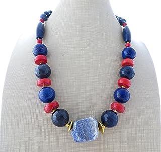 Collana con corallo rosso, lapislazzuli e sodalite, collier pietre naturali, gioielli estate, bijoux artigianali, accessor...