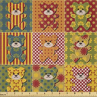 Lunarable Cabin Fabric by The Yard, Colorful Kids Pattern with Patchwork Style Teddy Bears Toys Funny Childish Print, Micr...