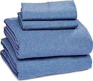 Amazon Basics Cotton Jersey Bed Sheet Set - King, Chambray Blue