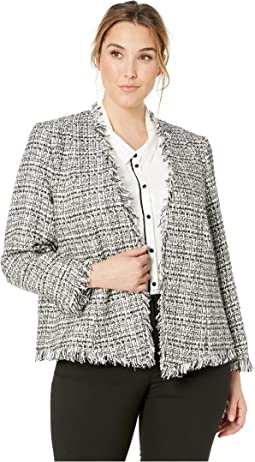 Plus Size Graphic Tweed Flyawy Jacket