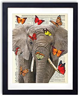 Elephant, Color Print With Red, Orange and Yellow Butterflies, Upcycled Vintage Dictionary Art Print, Farmhouse Boho Style Art Print for Bedroom, Living Room and Bathroom Decor 8x10 Inches, Unframed