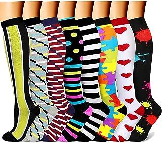 Compression Socks for Women & Men 7/8 Pairs 15-20 mmHg is Best Graduated Athletic,Running,Flight,Travel,Nurses