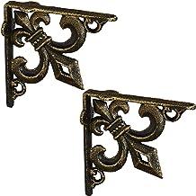Relaxdays Plankhoek antiek, set van 2, plankdragers gietijzer, lelies ornament, vintage wandhoek voor planken, brons