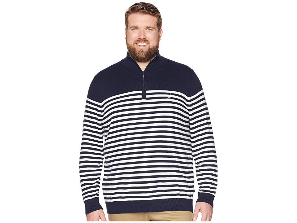 Nautica Big & Tall Big Tall 1/2 Zip Mock Pullover (Navy) Men