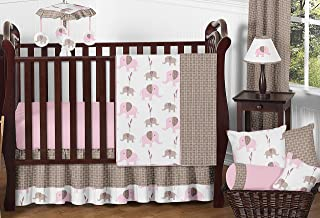 Sweet Jojo Designs 11-Piece Modern Pink and Brown Mod Elephant Baby Girl Bedding Crib Set Without Bumper