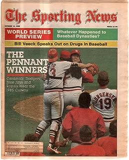 The Sporting News Newspaper Oct 14, 1985 Pennant Winners Ozzie Smith Jack Clark GOOD