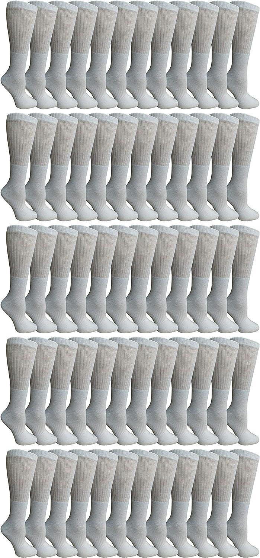 SOCKS'NBULK 60 Pairs of Kids Crew Socks, Soft Sports Socks In Bulk Packs, (White)