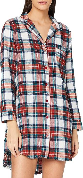 womensecret Camisola Corta Estampado Cuadros Camisa de Noche para Mujer