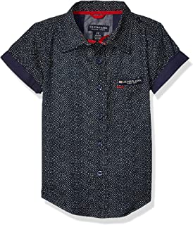 U.S. Polo Assn. Boys 6212 Short Sleeve Printed Dots Fashion Woven Shirt Short Sleeve Button Down Shirt - Blue