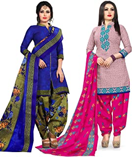 Rajnandini Women's Blue and Pink Cotton Printed Unstitched Salwar Suit Material (Combo Of 2) (Free Size)
