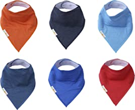 Baby Bandana Drool Bibs,Set of 6 Extra Large Solid Bandana Bibs for Boys and Girls,Made with Organic Cotton, Super Absorbent,Adjustable Snaps,Toddler Baby Bibs for Drooling,Teething and Feeding