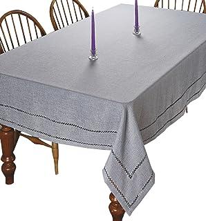 "Violet Linen Hem Stitch Embroidered Vintage Design Oblong/Rectangle Tablecloth, 60"" X 84"", Gray"