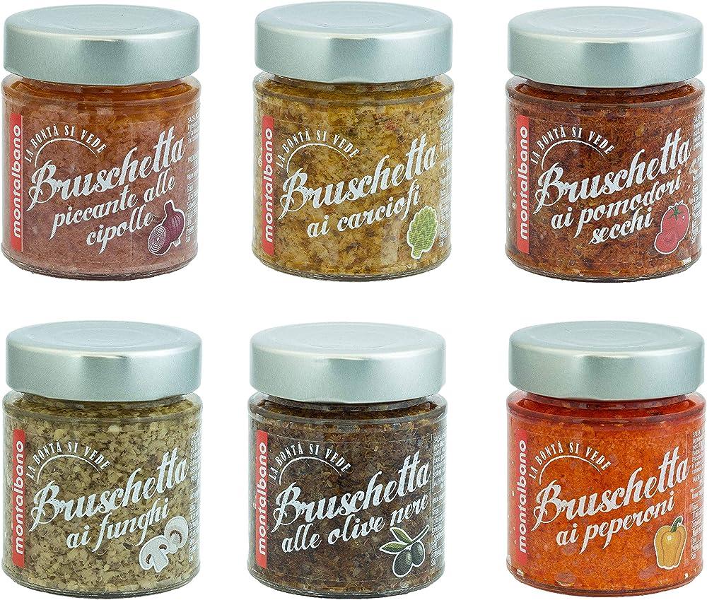 Montalbano,salse a base di verdure per bruschette,6 vasetti ,prodotto artigianale siciliano