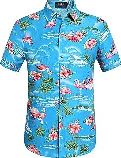 fa9701f116 SSLR Men s Flamingos Casual Short Sleeve Aloha Hawaiian Shirt