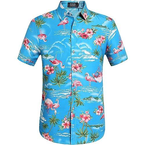 556726746cff SSLR Men s Flamingos Casual Short Sleeve Aloha Hawaiian Shirt
